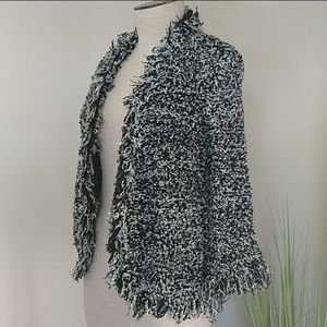 Chico's Cardigan Wool Blend Fringed Size S NWT